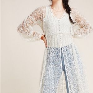 Anthro Maeve Ivory San Michel Sheer Lace Duster XS